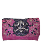 HOT PINK FLOWER RHINESTONE SKULL STUDDED LOOK CLUTCH TRIFOLD WALLET CW1-1296HPK
