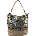 BEIGE CHEVRON LASER CUT DESIGN LOOK SHOULDER HANDBAG HB1-AB9033BEI
