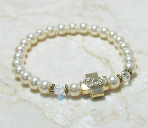 Cream Rose Swarovski Pearl Prayer Bracelet