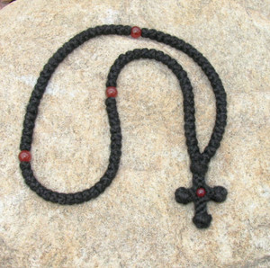 100-knot wool prayer rope with red agate beads