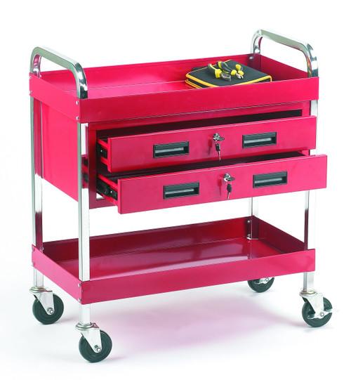 Tool trolley 2 shelves + 2 drawers