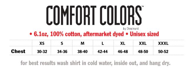 Comfort Colors t Shirts Colors T-shirt-sizeinfo-comfort