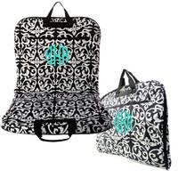 black and white damask garment bag