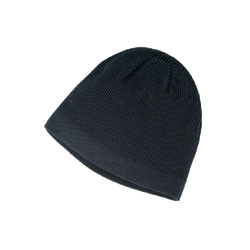 Black Cotton Fine Rib Toque
