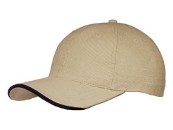 Khaki/Black Cotton Half-Wave Sandwich Peak Cap