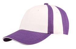 Purple/White Collegiate Stripe Chino Twill Cap