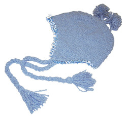 Sky Blue Curly Yarn Earflap Toque
