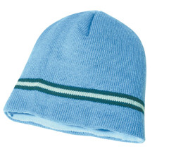 Sky Blue/Navy Acrylic Knit Toque Double Stripe
