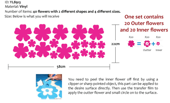 40 x Small Flower Wall Stickers