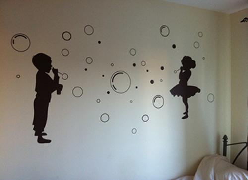 Kids and bubbles wall sticker