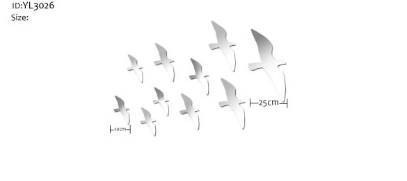 flock of birds wall mirror stickers