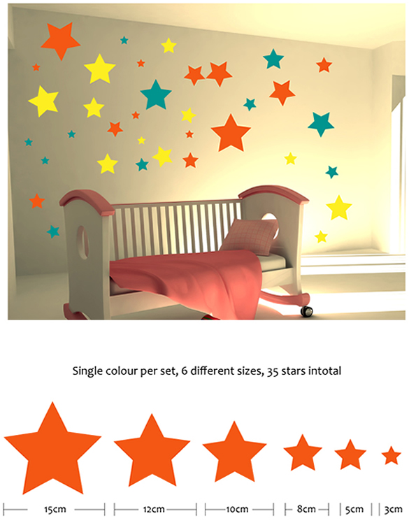 Mixed Size Star Wall Stickers