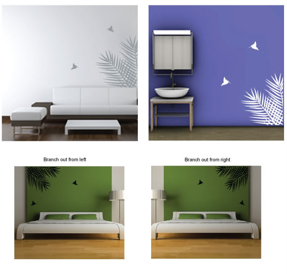 palm leaves wall stickers