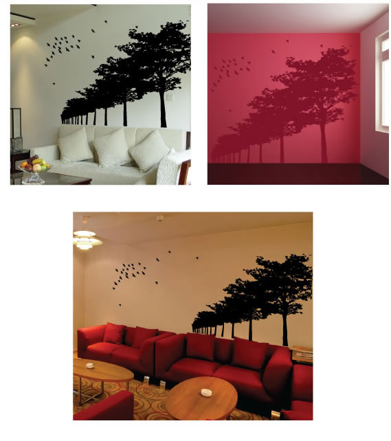 birds and forest wall sticker