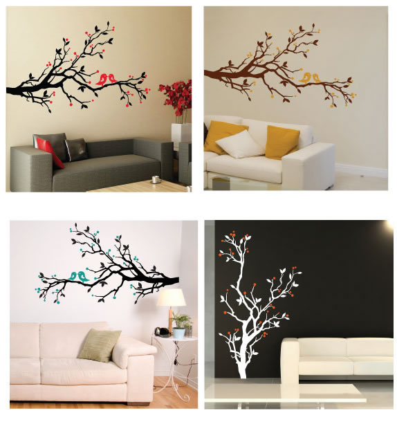 bird and blossom wall sticker