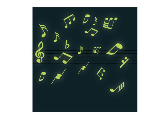 glow in the dark musical note wall sticker