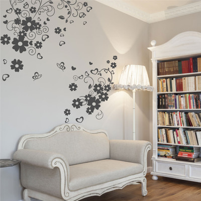 flower and hearts wall stickers