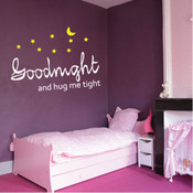 Goodnight and hug me tight wall quote sticker