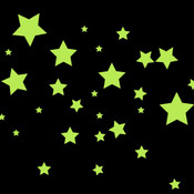 Glow in the Dark Mix Size Stars Wall Stickers