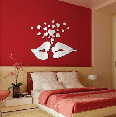 Lips and Hearts Mirror Wall Stickers