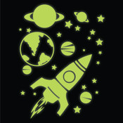 glow in the dark rocket, planets & stars wall stickers