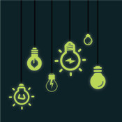 Glow in the dark light bulb wall stickers