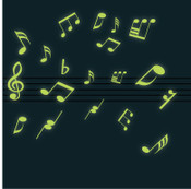 Glow in the dark musical notes wall stickers