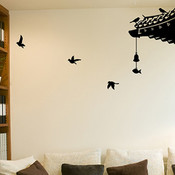Oriental Rooftop & Birds Wall Sticker