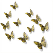 3D Yellow Leopard Print Butterfly Wall Decors