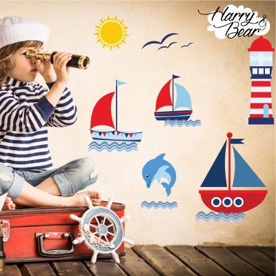 Sail boat wall sticker