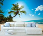 Caribbean Tropical Palm Trees Beach Wall Mural