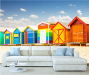 Colourful Beach House Huts Wall Mural