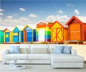 Colourful Beach House Huts Wall Mural