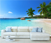 Tropical Sky Blue Beach Wall Mural