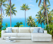 Tall Palm Trees Ocean View Wall Mural
