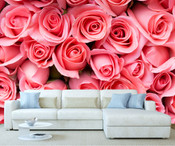 Pink Roses Flower Pattern Wall Mural