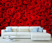 Red Roses Flower Pattern Wall Mural