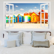 Colourful Beach House Huts 3D Wall Sticker