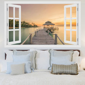 Sunset Beach 3D Wall Sticker