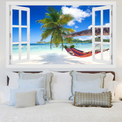 Palm Tree Hammock Beach 3D Wall Sticker 5301-1009