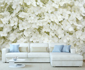 White Hydrangea Flowers Wall Mural