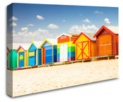 Colourful Beach House Huts Wall Art Canvas