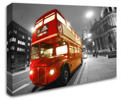 London Vintage Red Bus Wall Art Canvas