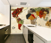 Food Ingredient World Map Wall Mural