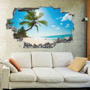 3D Broken Wall Beach Wall Stickers 1001