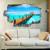 3D Broken Wall Beach Wall Stickers 1002