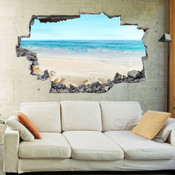 3D Broken Wall Beach Wall Stickers 1004