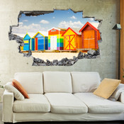3D Broken Wall Beach Wall Stickers 5302-1005
