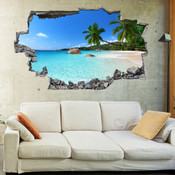3D Broken Wall Beach Wall Stickers 1007