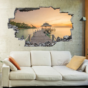 3D Broken Wall Beach Wall Stickers 5302-1008